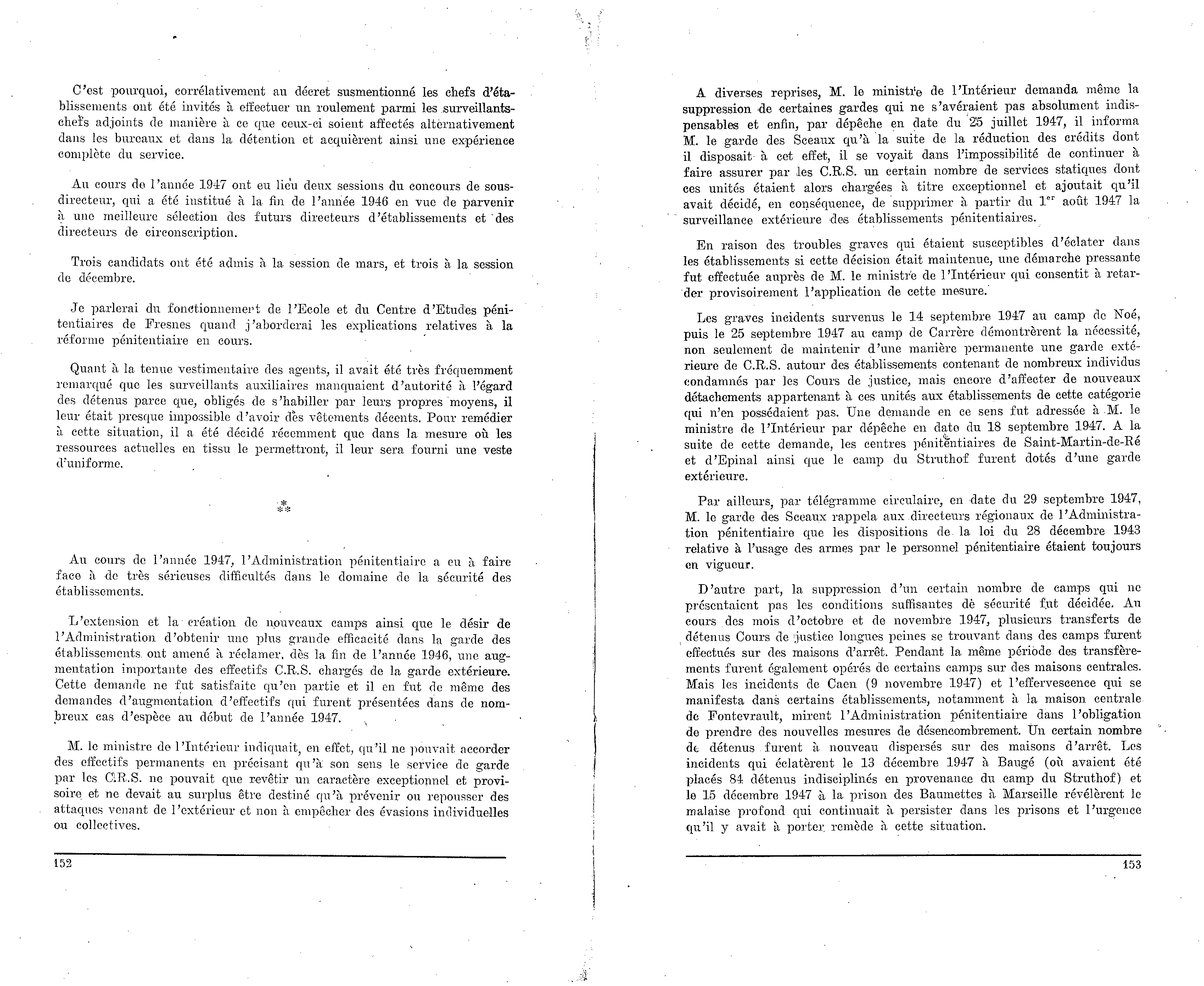 Administration pénitentiaire. Rapport annuel (1947) — 152-153 7291ae5d220