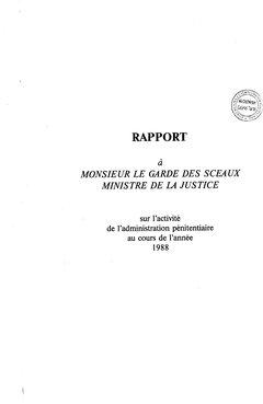 Administration Penitentiaire Rapport Annuel 1988 Criminocorpus