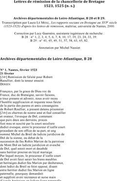 Lettres De Remission De La Chancellerie De Bretagne 1523