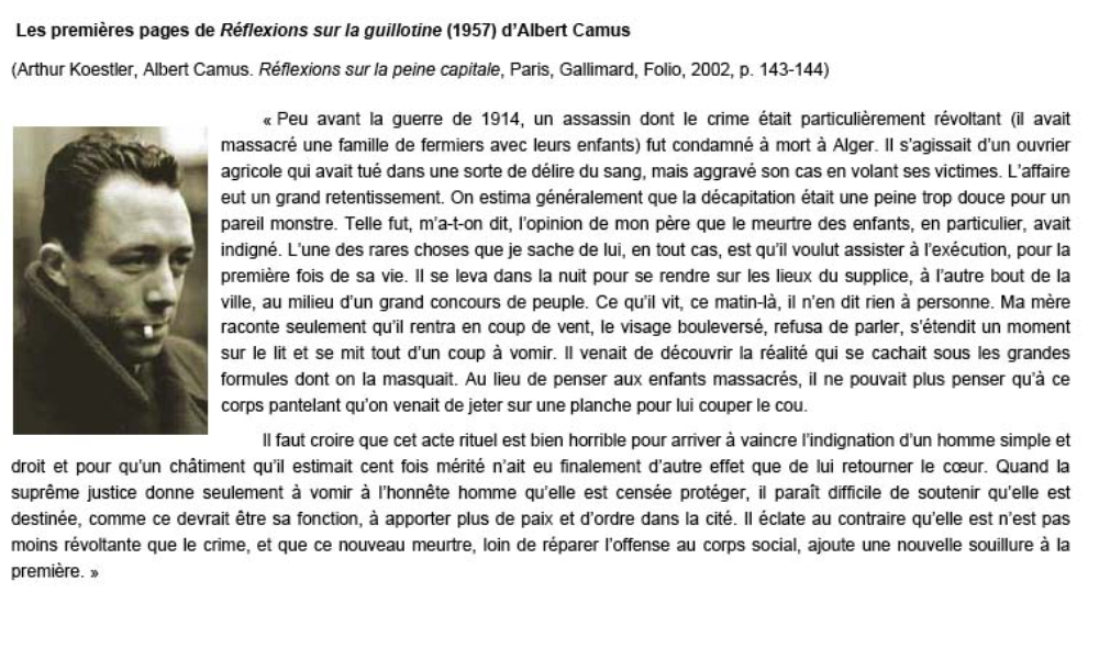 albert camus death penalty essay In these essays, camus sets two attitudes in opposition  after the liberation he opposed the death penalty for  j, 2008, albert camus: from the absurd to revolt.